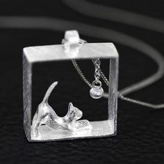 Climbing Cat Pendant Kitty Necklace Women Kitten Chasing Ball Silver Plated New #Unbranded #Pendant