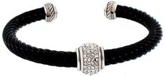 """Designer Inspired Center Pave Cuff-black World Silver. $24.00. Silver and brass with rhodium plating. Tarnish resistant. 2.5"""" diameter"""