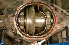Air tube safely routed and differential cover installation.