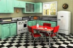 americana decorating - 1950s vintage or retro kitchen look