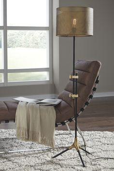 Mance Floor Lamp, Gray/Brass Finish