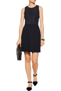 love the suede top on this simple theory dress.
