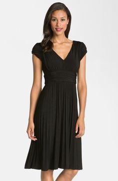 'Sunburst' Pleated Jersey Fit & Flare Dress
