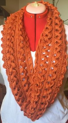 Handmade Hairpin Lace Infinity Scarf - adult size - orange [] #<br/> # #Hairpin #Lace,<br/> # #Crochet #Projects,<br/> # #Crochet #Ideas,<br/> # #Crochet #Patterns,<br/> # #Orange,<br/> # #Infinity #Scarfs,<br/> # #Crochet #Scarves,<br/> # #Shawl,<br/> # #Handmade<br/>