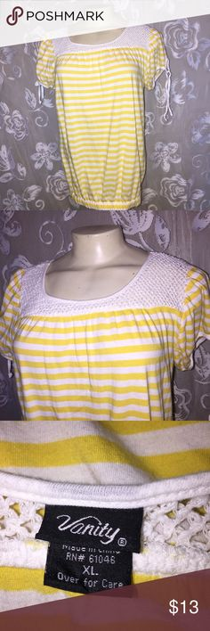 Vanity yellow white striped peasant style top Cute yellow & white top by Vanity.  The neckline is trimmed in a crochet like design.  It has little ties on the sleeves.  Junior's size xl or womens size medium.  Very cute with anything.    ~ Bundle up & save on shipping! Check out my other listings!  ~ I am open to reasonable offers.  ~I do my best to describe each item thoroughly.  ~I ship same day or next day.  ~ I do not hold items.  ~Not responsible for incorrect sizing. I go by what the…