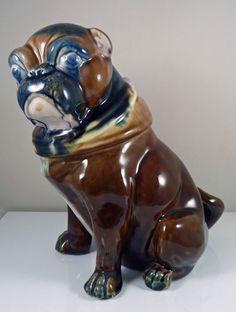 Antique Majolica Pug Dog or French Bulldog  Jar & Cover