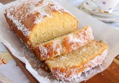 Hot lemon, sugar syrup is poured into this light & fluffy lemon & coconut loaf as soon as it leaves the oven. It tastes simply divine. Coconut Syrup, Lemon Coconut, Lemon Sugar, Quick Bread Recipes, Sweet Recipes, Dessert Spoons, Wedding Cakes With Cupcakes, Dessert Recipes, Desserts