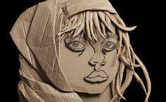 Cardboard sculpture by Golzad. Shameem (Breeze) ©2011 Ali Golzad Recycled, Corrugated Cardboard 76cm x 96.5cm (30.5″x38″)