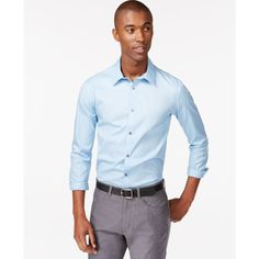 Calvin Klein Men's Infinite Cool Classic-Fit Shirt ($60) ❤ liked on Polyvore featuring men's fashion, men's clothing, men's shirts, men's dress shirts, blue bell, mens blue dress shirt, mens dress shirts, mens blue shirt, calvin klein mens shirts and mens classic fit shirts