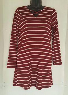 Mia Chica Girls Long Sleeve Burgundy/Ivory Stripe Dress Size XL #MiaChica #Everyday
