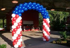 Red White Blue balloon  arch. Can do with one balloon to be cheaper.