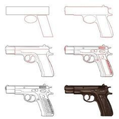 Easy Gun Drawings Picture To Draw In 2019 Pistol Drawing Glock