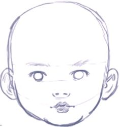 How to Draw a Baby's Face / Head with Step by Step Drawing Instructions
