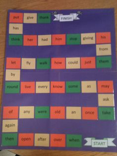 1st grade sight word game. Students have some kind of game piece and take turns rolling a foam dice to see how far they go on the squares. If they say the word correctly they can stay, but if they say it wrong, they return to the start.  First to the finish wins! :)