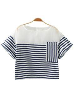 Blue-White Striped Patchwork Pockets T-Shirt