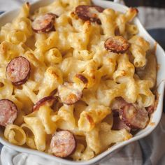 The creamiest mac and cheese you will ever make and kielbasa rounds add a light smokiness.