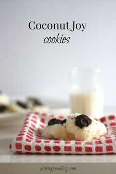 Coconut Joy Cookies. These are so simple to make yet delicious! The taste and texture is just like an almond joy/ mounds bar but more festive!
