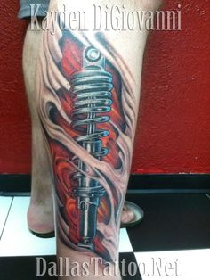 Biomechanical Tattoo.  Shock Tattoo.  Skin Rip.  Under skin.  Unique Tattoo.