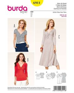 Burda 6911 Women Easy Dress Tops Sewing Pattern Miss 8-10-12-14-16-18-20 UNCUT #Burda