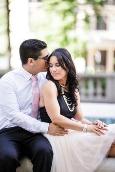 Rittenhouse Square classic engagement session with beautiful pink tulle skirt | Philadelphia Wedding Photographer Ashley Gerrity Photography