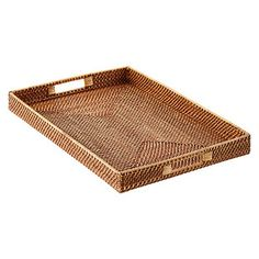 Copper Rattan Serving Tray with Handles