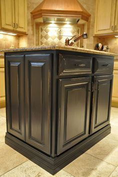 Antique Black Painted Kitchen Island Reveal  Thinking this color for the new office desk.