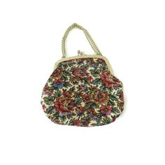 Tapestry Purse Clutch Vintage 50s 60s Handbag Small Needlepoint Evening Bag Chain Strap Floral Pattern Kisslock Closure by GoodLuxeVintage on Etsy