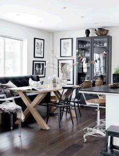 black, grey and wood
