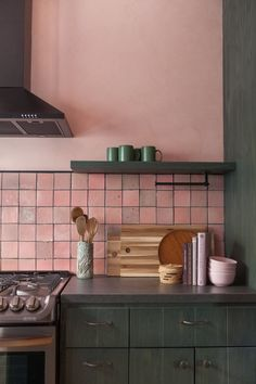 Design & Convenience Completes Your Ideal Kitchen. Boho Kitchen, Green Kitchen, Kitchen Tiles, Home Decor Kitchen, Interior Design Kitchen, New Kitchen, Home Kitchens, Kitchen Dining, Pink Kitchen Cabinets