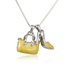 Yellow Enamel with Crystal Handbag and Shoe Pendant Necklace $18        Bridemaids idea