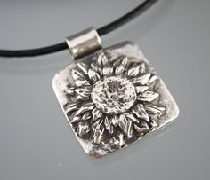 Unique Antiqued Recycled Sterling Silver Sunflower Flower 3D Pendant Black Leather Necklace