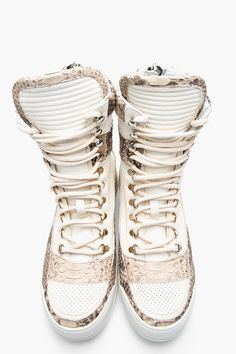 BALMAIN Ivory & Taupe Perforated Leather Pythonskin Sneakers