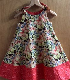 Butterfly Boho Cotton Shoulder Tie Dress, girls size 8 by SewMeems on Etsy