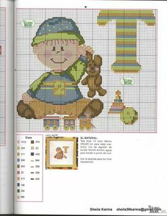 Punto de cruz bebé Cross Stitch For Kids, Cross Stitch Baby, Cross Stitch Alphabet, Cross Stitch Charts, Cross Stitch Patterns, Stitching Patterns, Stitch 2, Letters And Numbers, Embroidery Art