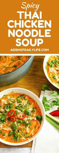 Thai Chicken Noodle Soup Skip the takeout! This delicious Thai Chicken Noodle Soup is easy to make at home with ingredients you can find in your local supermarket. If you love Thai food, you need to try this recipe! Thai Recipes, Asian Recipes, Cooking Recipes, Healthy Recipes, Cooking Pork, Vegetarian Cooking, Thai Chicken Noodles, Thai Noodle Soups, Spicy Thai Chicken Soup