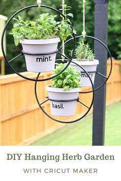 #ad I recently received a Cricut Maker - cue excited squeals- and thought it would be the perfect way to embellish my hanging herb garden by creating clean and modern labels for the pots. All of the links, sources, and instructions can be found here! It's such an easy and gorgeous way to up your garden game! #cricutathome #cricutcreated Hanging Herbs, Diy Hanging, Turkey Shepherds Pie, Weeding Tools, Garden Games, Foam Crafts, Herb Garden, Garden Design, Planter Pots