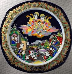 """""""Away in a Manger"""" Bjørn Wiinblad, 1993 Rosenthal Christmas Carol Plate Christmas Plates, Christmas Carol, White Christmas, We Three Kings, China Plates, Joy To The World, Carnival Glass, Vintage China, Jingle Bells"""
