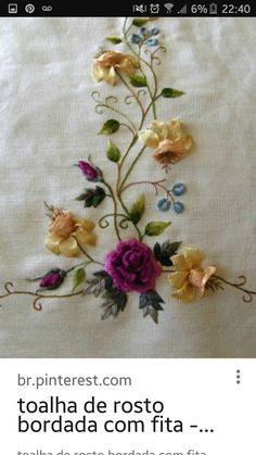 Silk Ribbon Embroidery, Embroidery Stitches, Embroidery Patterns, Hand Embroidery, Crochet Patterns, Smocking Plates, Ribbon Art, Needlework, Sewing Projects