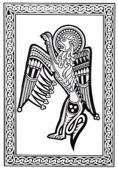 Magnificent Celtic art drawing, with lion with wings, From the gallery : Celtic Art