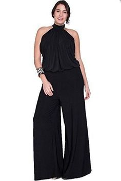 7cf2c4f99988 Nyteez Women s Plus Size High Neck Wide Leg Jumpsuit
