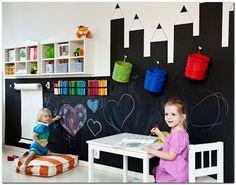 Ideas Kids Room Diy Playrooms Chalk Board For 2019 Baby Boy Rooms, Little Girl Rooms, Chalkboard Wall Playroom, Kids Art Easel, Cool Kids Rooms, Kids Room Design, Kids Decor, Kids Bedroom, Room Inspiration