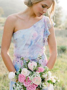 Watercolor Print bridesmaids dresses