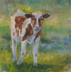 Belted Galloway Cows Bovine Painting Cows In Landscape