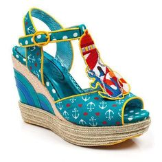 Frolic by the seaside and light up your wedge collection in these cartoon, vintage wedge lovelies. Featuring an anchor and love heart fabric upper with buckle strap, raffia wedge, wave effect applique and a cute light house t-bar. Irregular Choice Shoes, Top Shoes, Espadrilles, Wedges, Cute, Collection, Fashion, Espadrilles Outfit, Moda