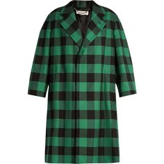 Balenciaga Godfather checked oversized coat ($2,750) ❤ liked on Polyvore featuring outerwear, coats, single-breasted trench coats, checked coat, green coat, balenciaga coat and balenciaga