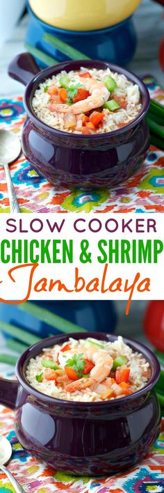 Slow Cooker Chicken and Shrimp Jambalaya is a healthy, clean eating Crock Pot dinner to warm your insides!