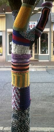 Crochet & Knitting at the FiberArts Cafe. Our yarn bombed tree, July 2012