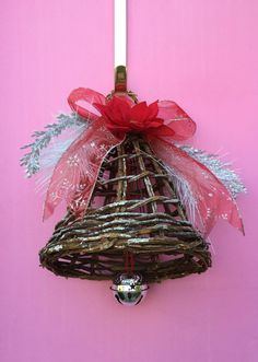 Christmas Twig Bell Door Hanger by AHolidayShoppe