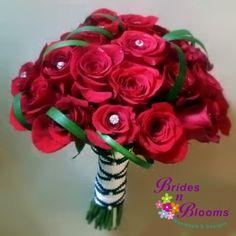 Brides N Blooms Designs Red Roses ballet tie bouquet