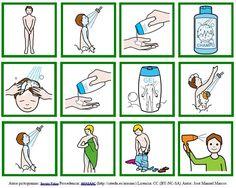 Rutinas diarias ducha con pictogramas de  ARASAAC - Masculino